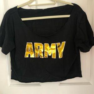 VS Pink collegiate Army crop top